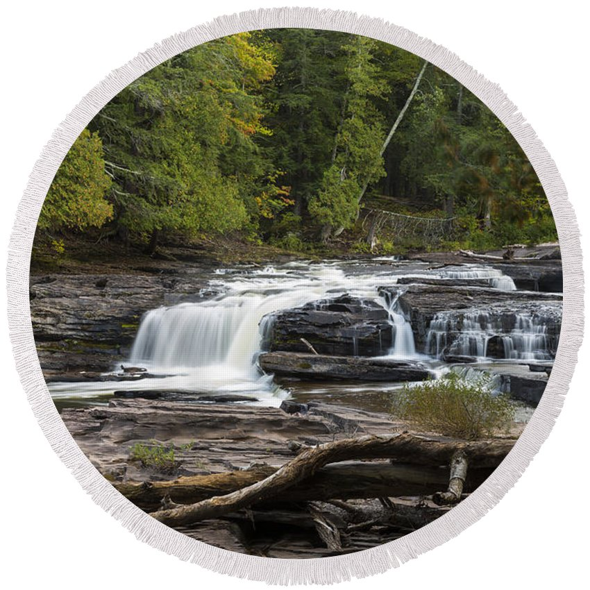Manido Round Beach Towel featuring the photograph Manido Falls 1 by John Brueske