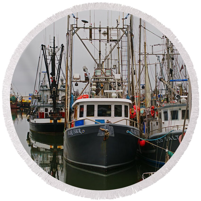 Fishing Boats Round Beach Towel featuring the photograph Many Fish Boats by Randy Harris