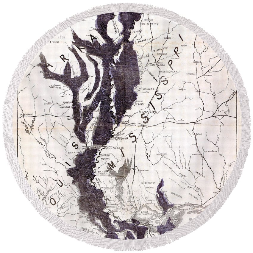 1874 Round Beach Towel featuring the photograph Map: Mississippi River, 1874 by Granger