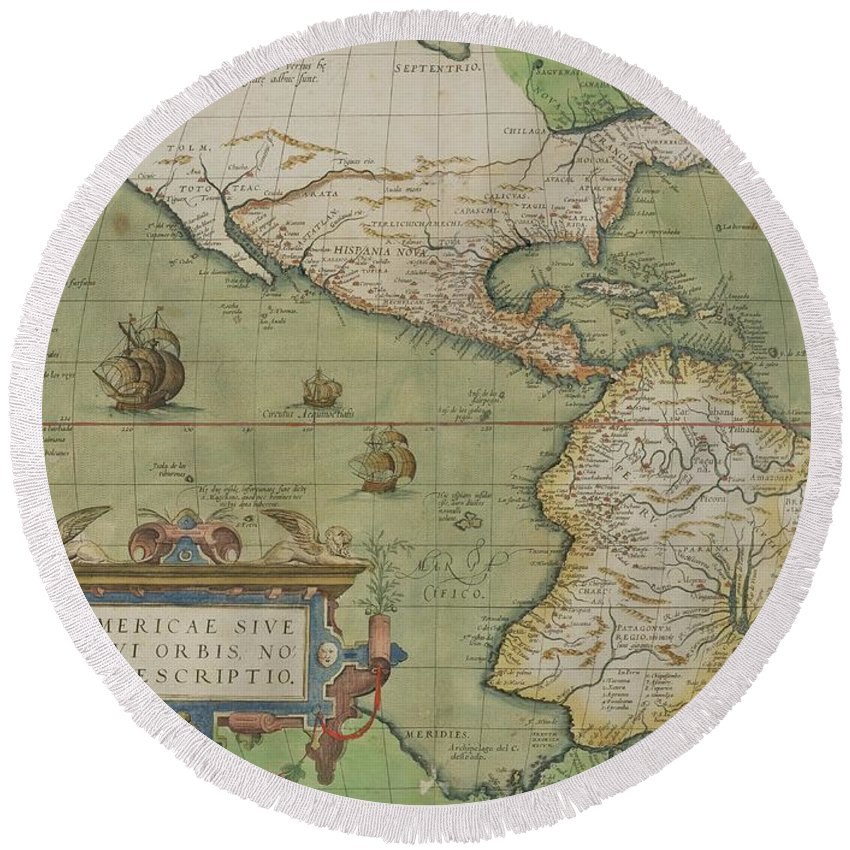 Maps Round Beach Towel featuring the painting Map Of North And South America by Abraham Ortelius