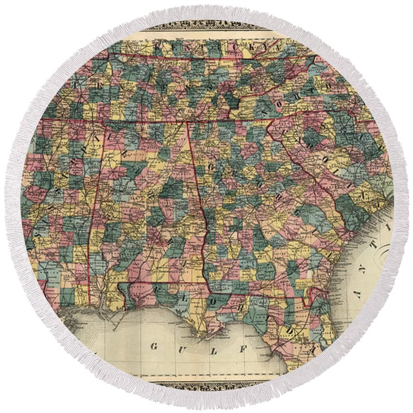 1864 Round Beach Towel featuring the photograph Map: Railroad, 1864 by Granger