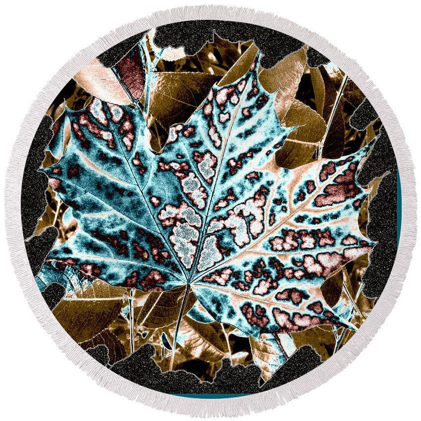 Abstract Round Beach Towel featuring the digital art Maple Leaf And Laurel by Will Borden