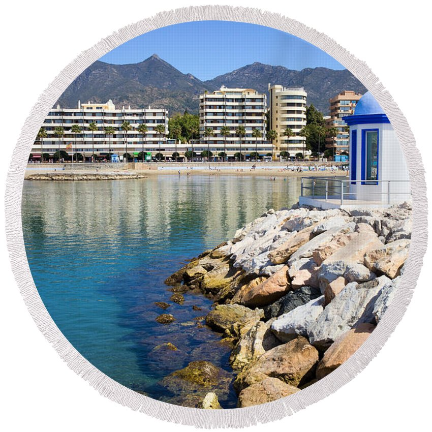 Marbella Round Beach Towel featuring the photograph Marbella Bay by Artur Bogacki