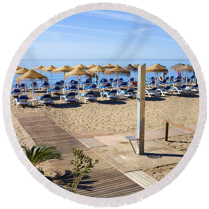 Beach Round Beach Towel featuring the photograph Marbella Holiday Beach by Artur Bogacki