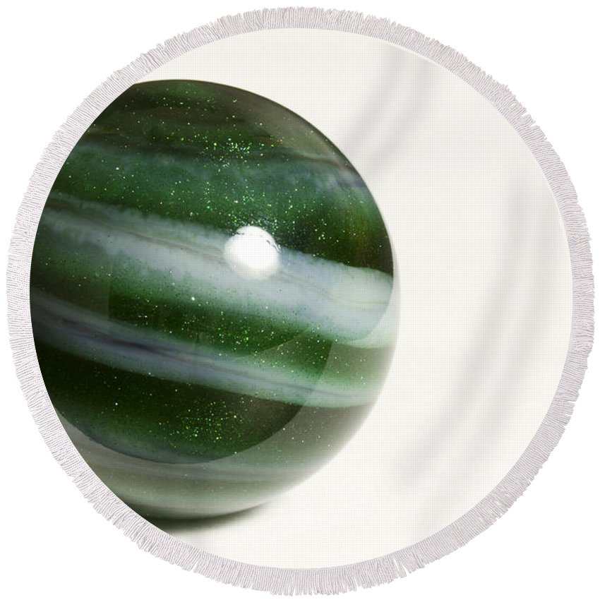 Photography Round Beach Towel featuring the photograph Marble Green Onion Skin 2 by John Brueske