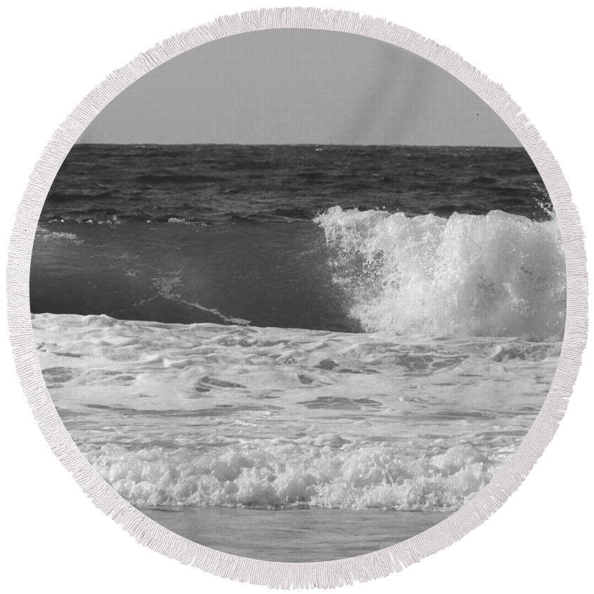 Marina Dunes Beach Round Beach Towel featuring the photograph Marina Incoming by Kathleen Grace