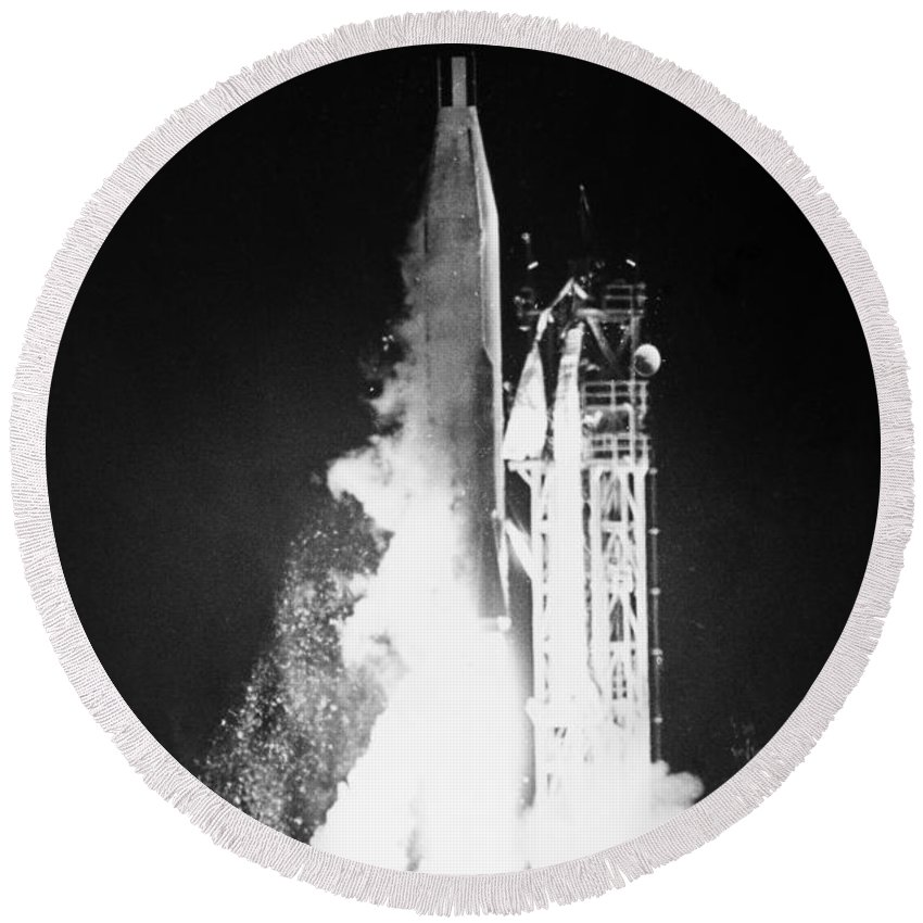 1962 Round Beach Towel featuring the photograph Mariner 1: Launch, 1962 by Granger