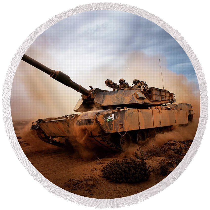 U.s. Marine Corps Round Beach Towel featuring the photograph Marines Roll Down A Dirt Road by Stocktrek Images