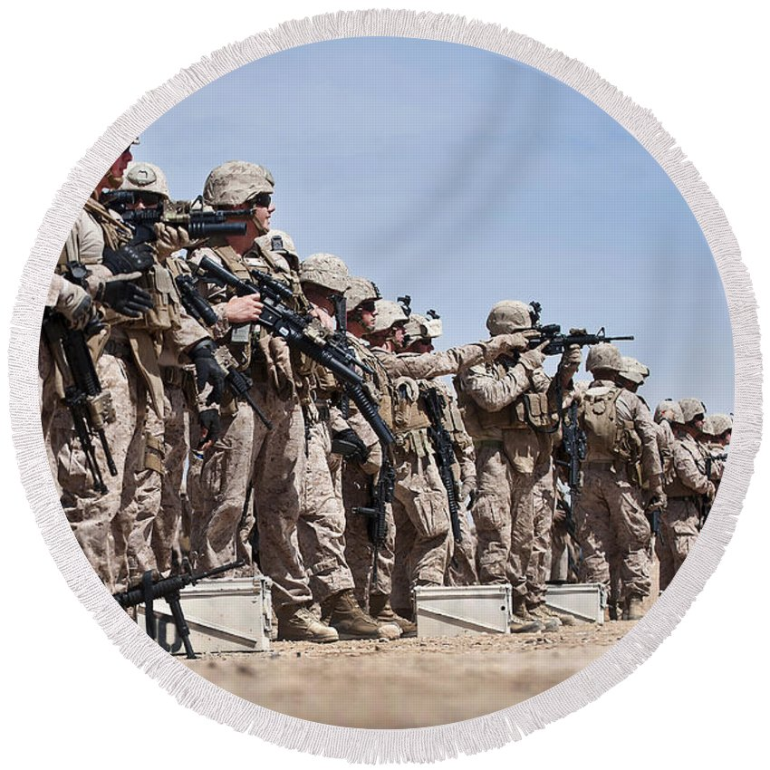 Afghanistan Round Beach Towel featuring the photograph Marines Verify The Battle Sight Zeroes by Stocktrek Images