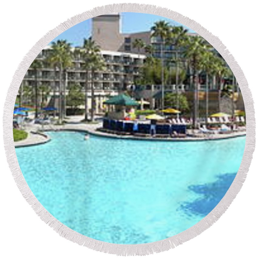 Swimming Pool Round Beach Towel featuring the photograph Marriott Hotel Swimming Pool Panorama Orlando Fl by Thomas Woolworth
