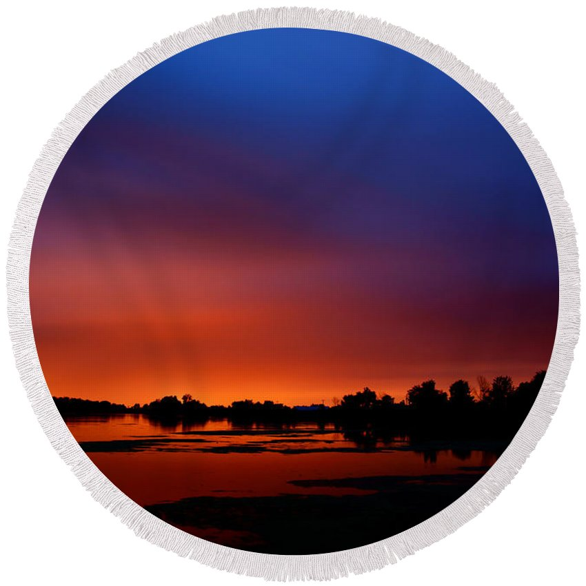 Water Round Beach Towel featuring the photograph Marsh Sunset by Cale Best