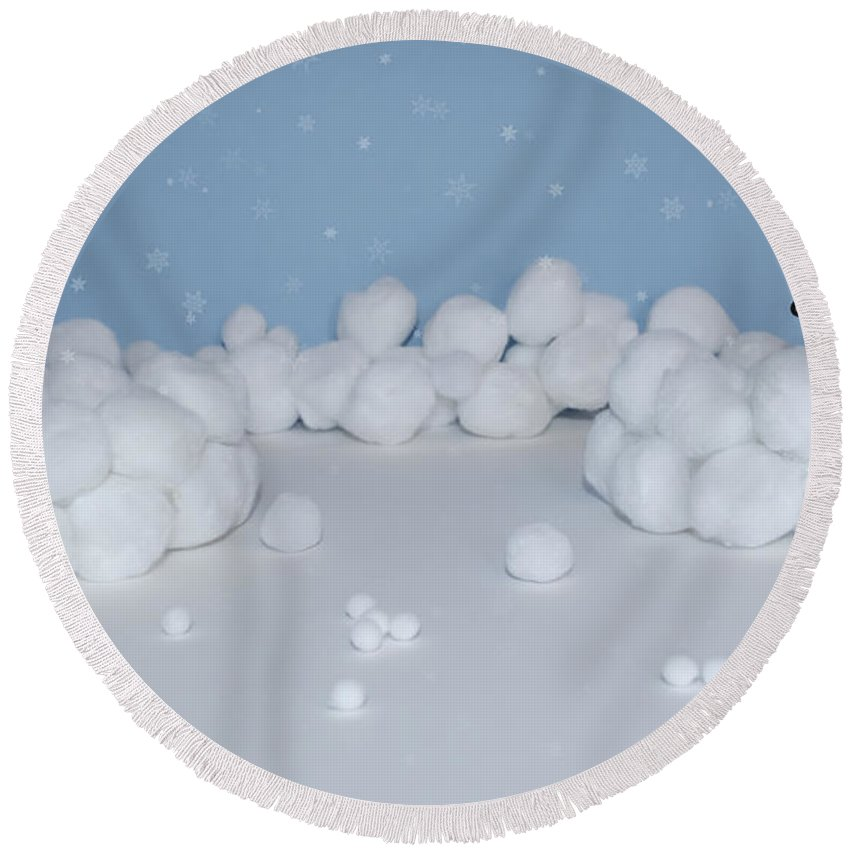 Snowball Round Beach Towel featuring the photograph Marshmallow Fight by Heather Applegate