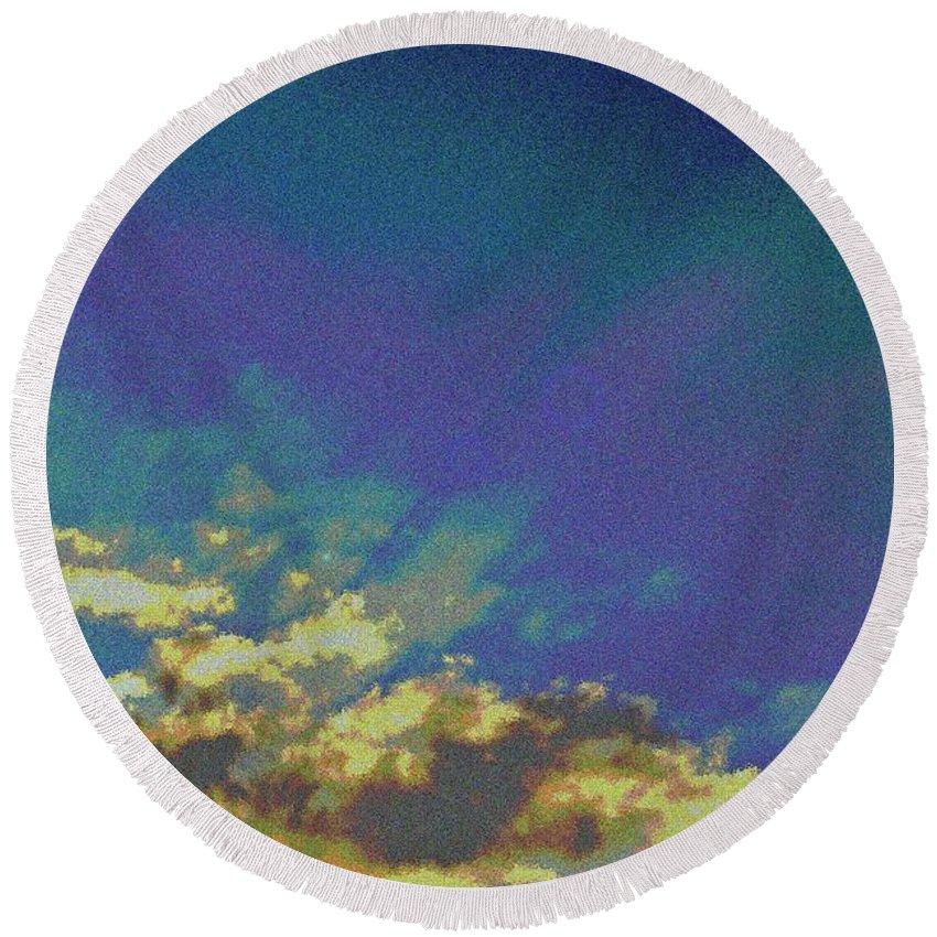 Sky Round Beach Towel featuring the digital art Martian Sky by David Pyatt