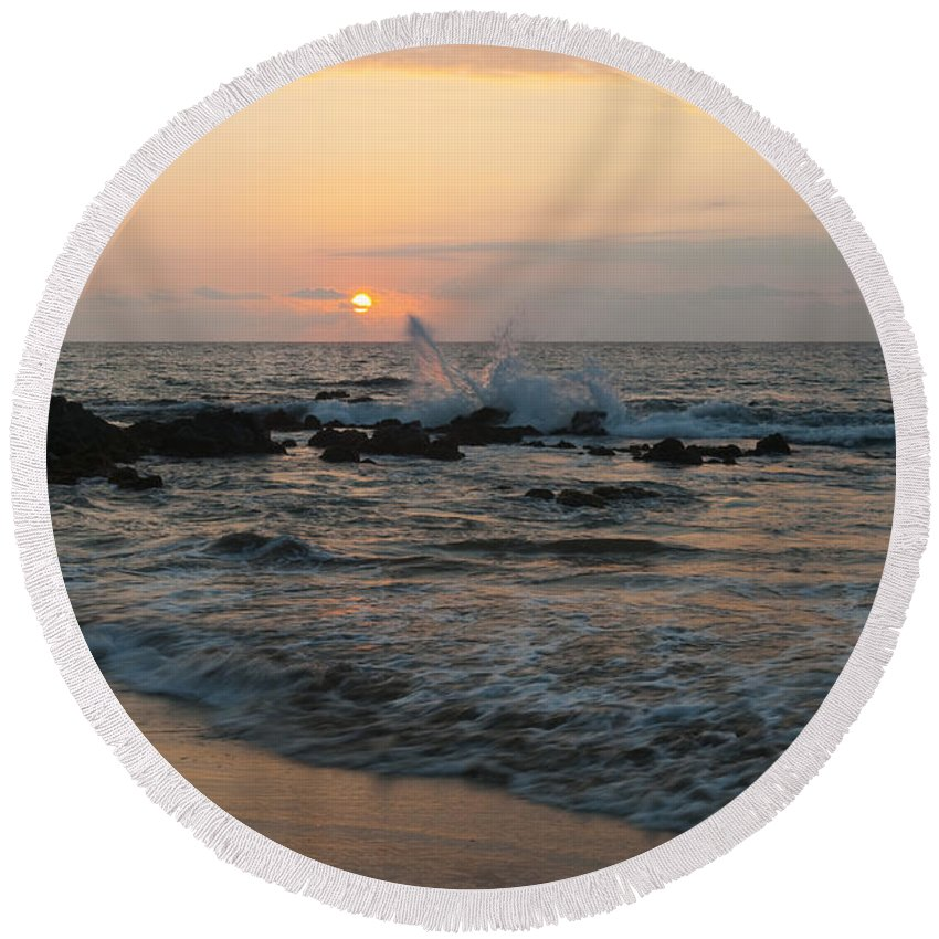 Maui Round Beach Towel featuring the photograph Maui Sunset by Sandra Bronstein