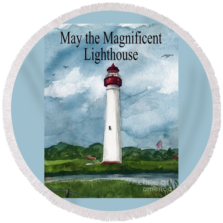 Cape May Lighthouse Round Beach Towel featuring the painting May The Magnificent Lighthouse by Nancy Patterson