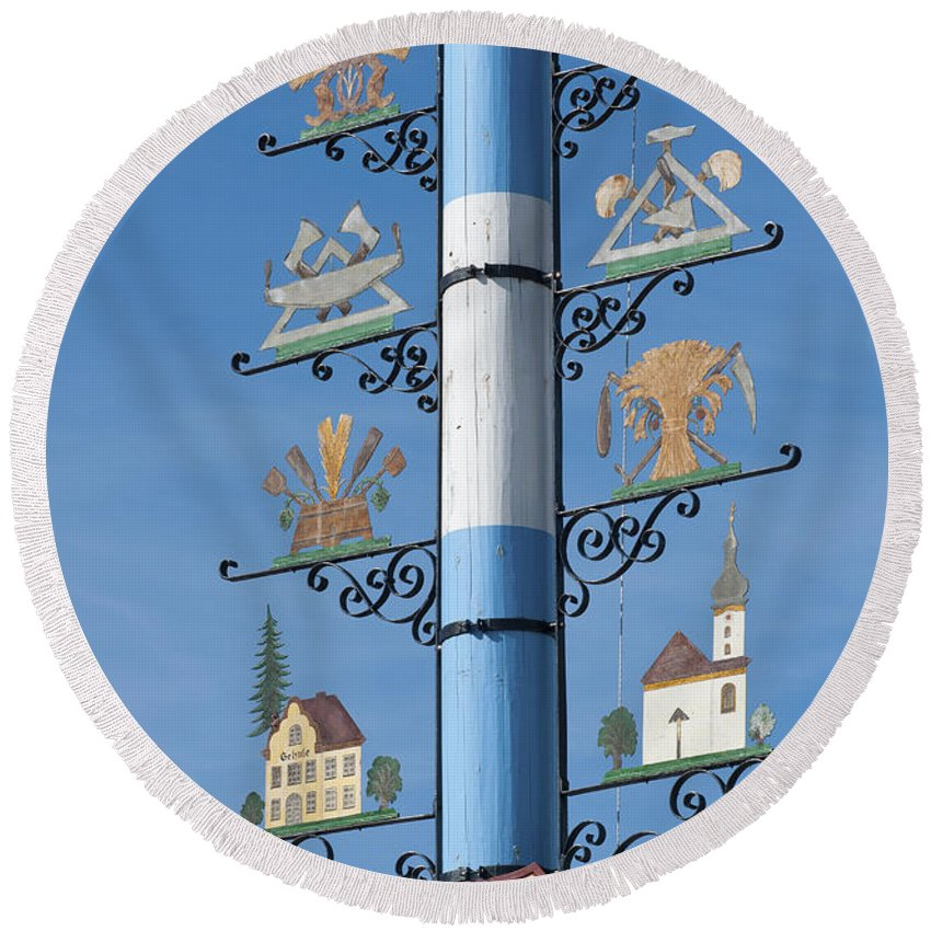 Bavaria Round Beach Towel featuring the photograph Maypole by Andrew Michael