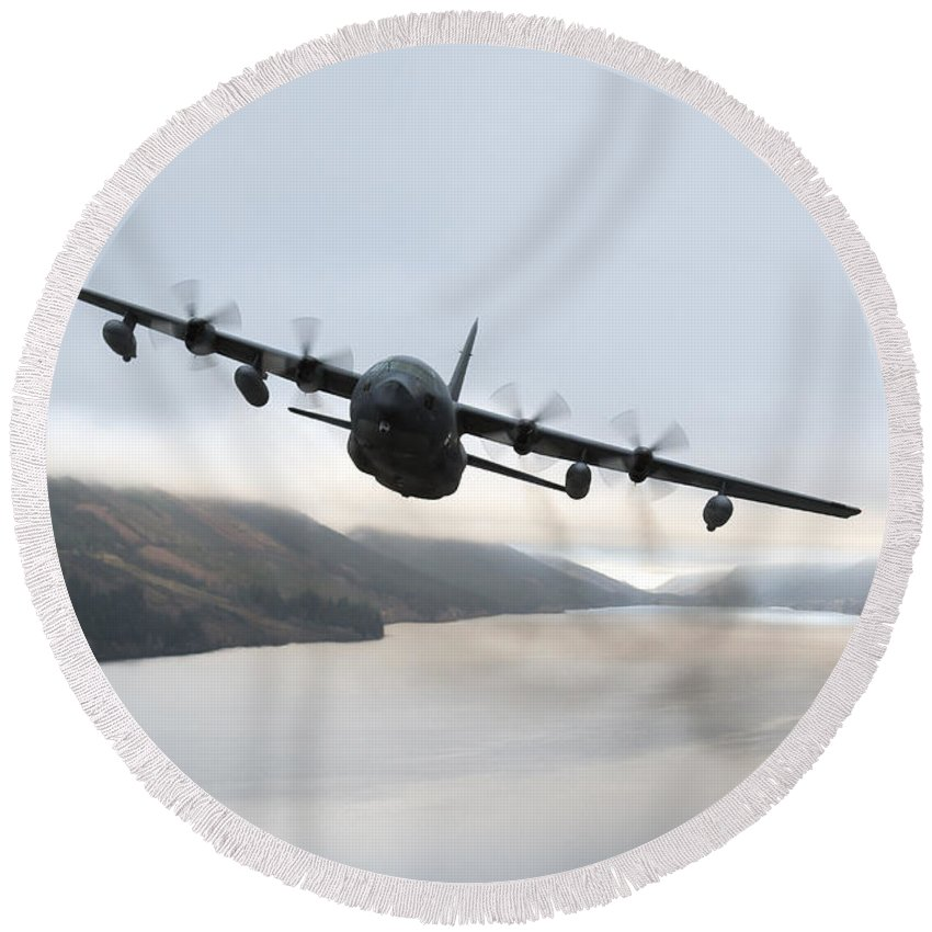 Mc-130 Round Beach Towel featuring the photograph Mc-130p Combat Shadow Over Scotland by Gert Kromhout