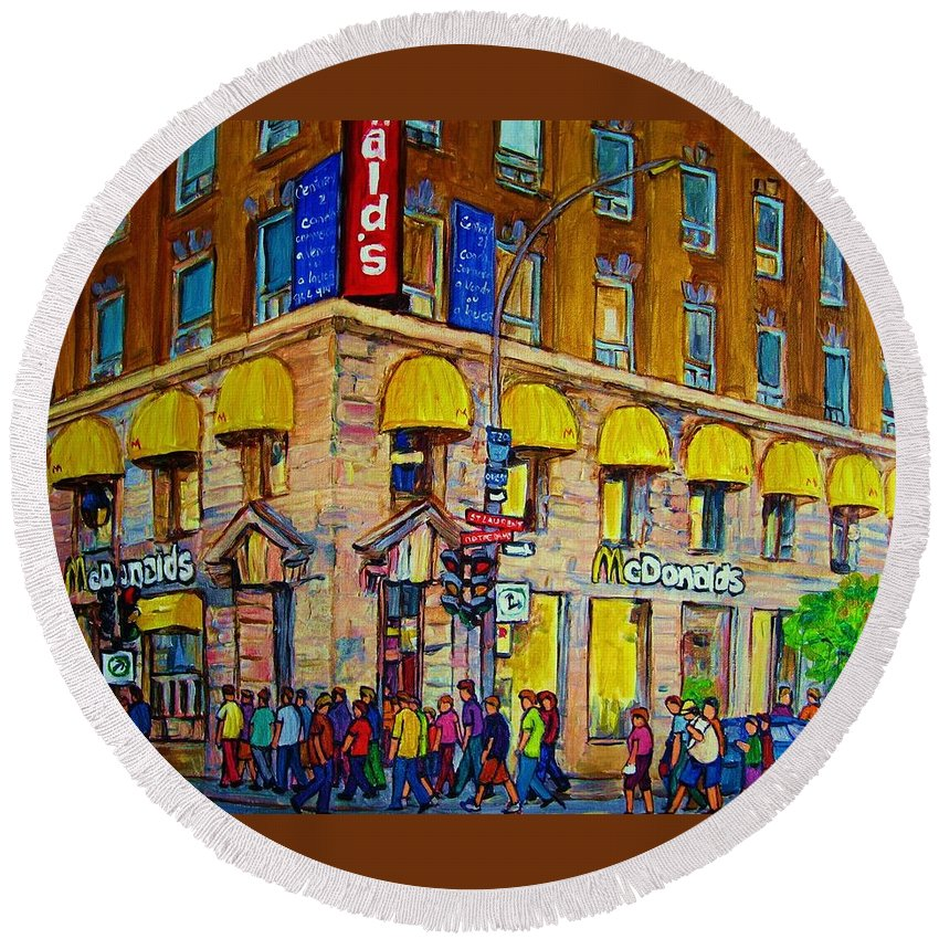 Mcdonald Restaurant Montreal Round Beach Towel featuring the painting Mcdonald by Carole Spandau