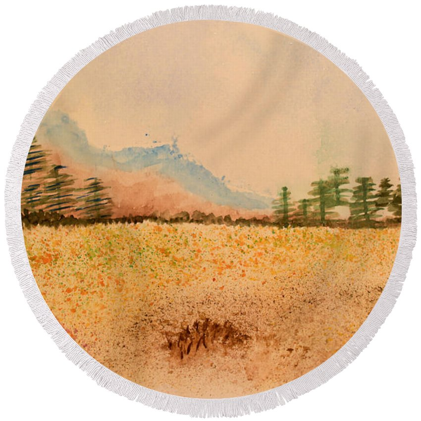 Watercolor Round Beach Towel featuring the painting Meadow Wildflowers - Watercolor by Heidi Smith