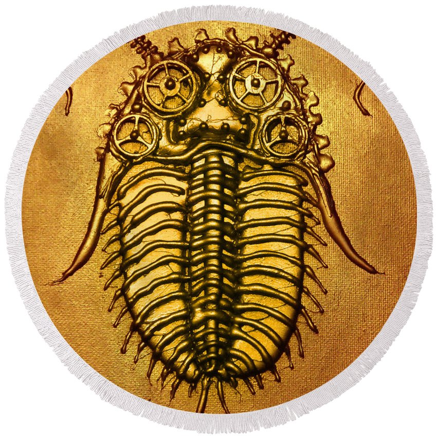 Steampunk Round Beach Towel featuring the relief Mecha-trilobite 1 by Baron Dixon