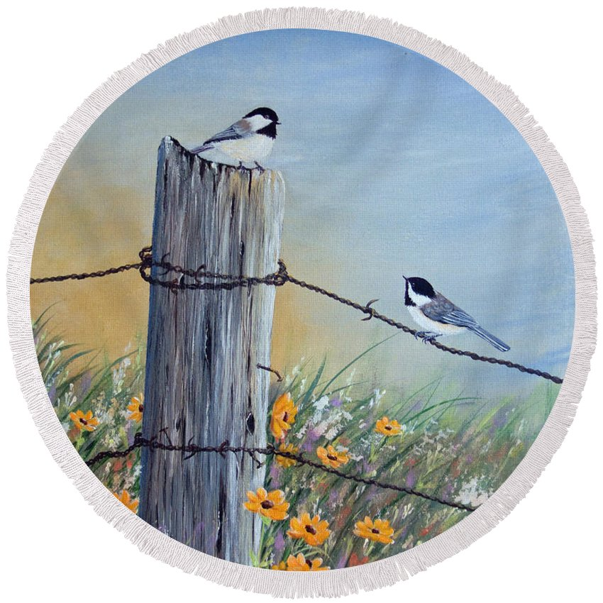 Chickadee Round Beach Towel featuring the painting Meeting At The Old Fence Post by Dee Carpenter