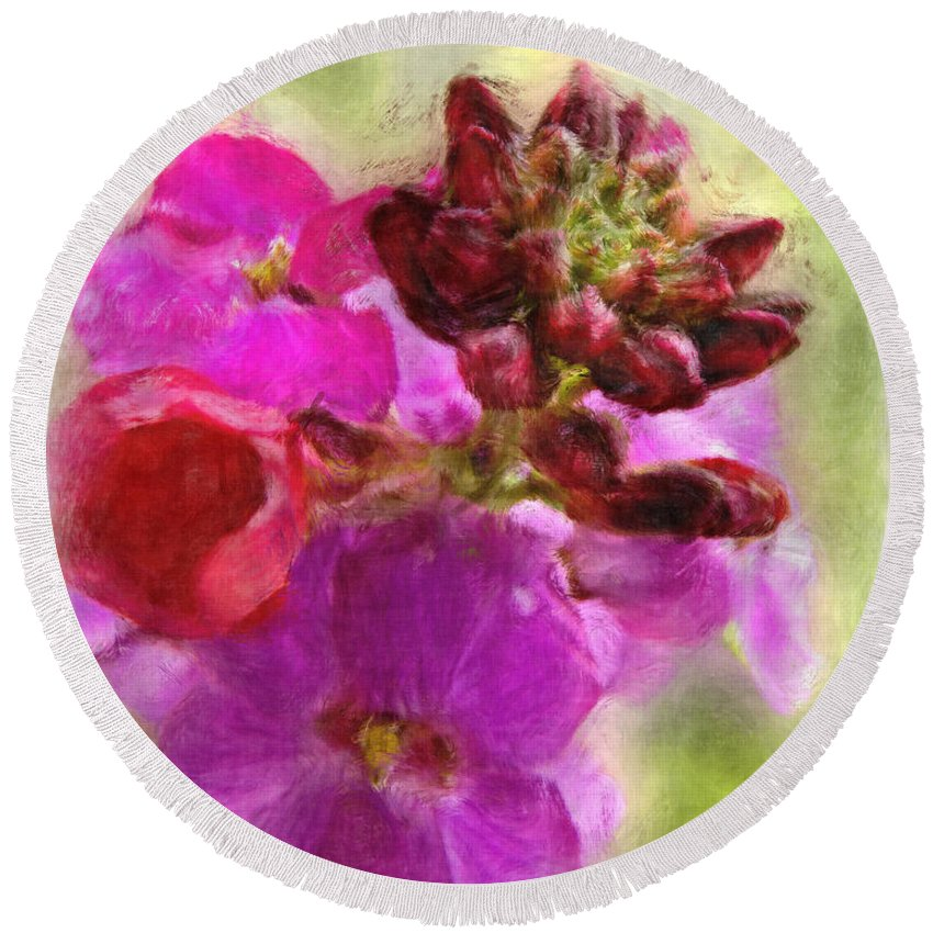Bitanical Round Beach Towel featuring the digital art Mellow Magenta by Debbie Portwood