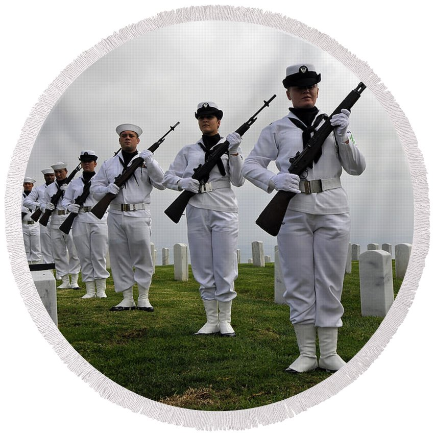 Tribute Round Beach Towel featuring the photograph Members Of A Ceremonial Honor Guard by Stocktrek Images