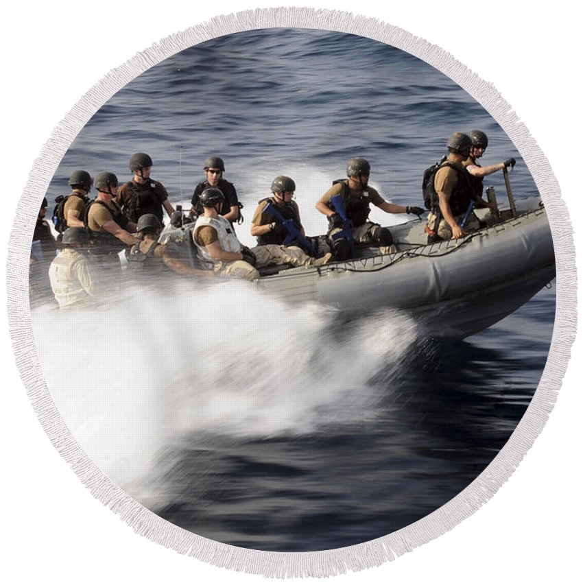 Operation Enduring Freedom Round Beach Towel featuring the photograph Members Of A Visit, Board, Search by Stocktrek Images