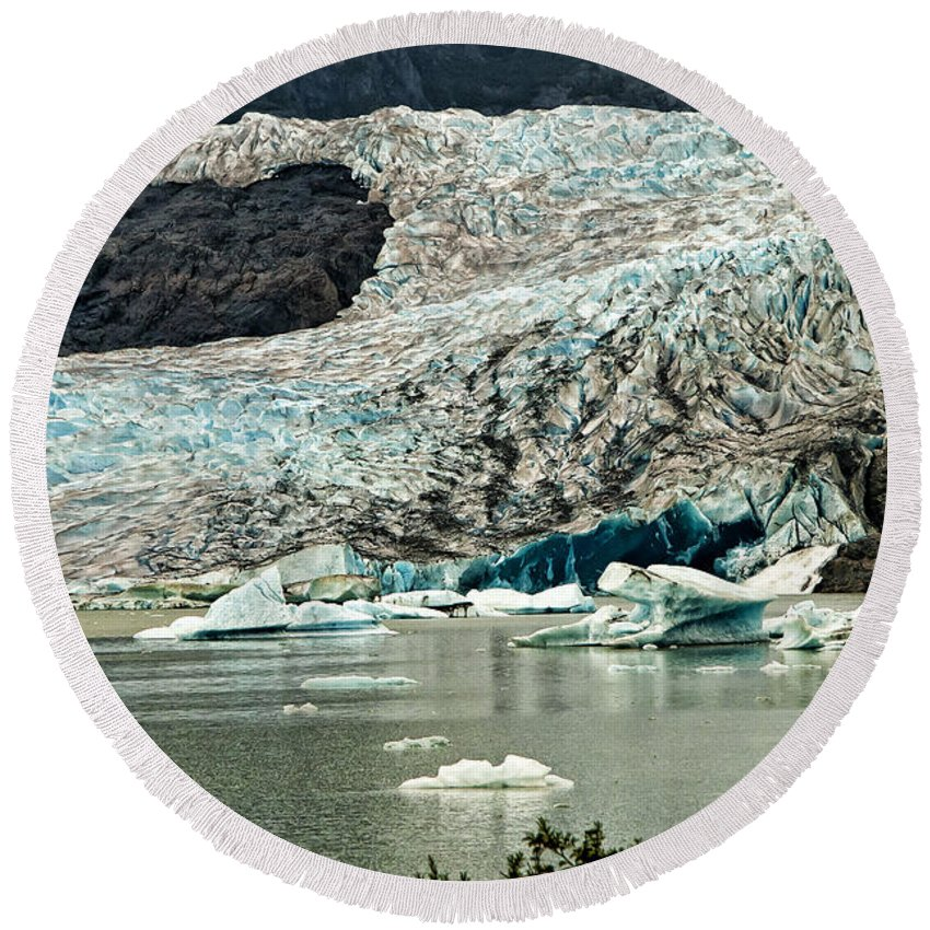Mendenhall Glacier Alaska Round Beach Towel featuring the photograph Mendenhall Glacier Alaska by Jon Berghoff