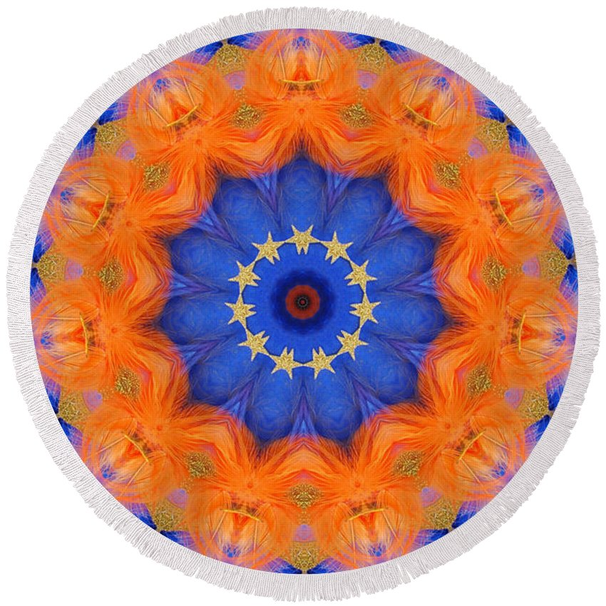 Kaleidoscope Round Beach Towel featuring the photograph Mermaid 1 by Mark Gilman