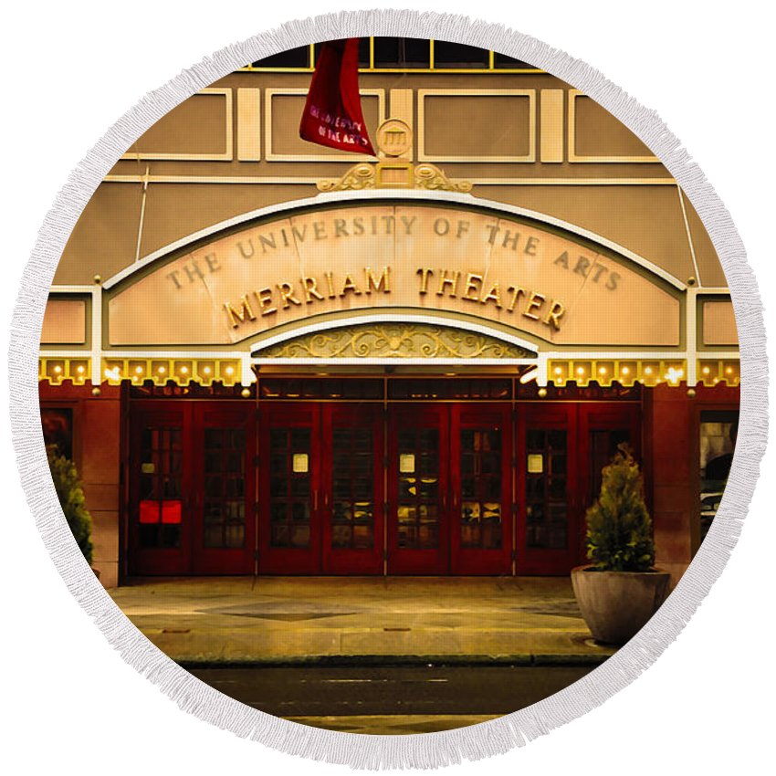 Merriam Theater Round Beach Towel featuring the photograph Merriam Theater by Bill Cannon