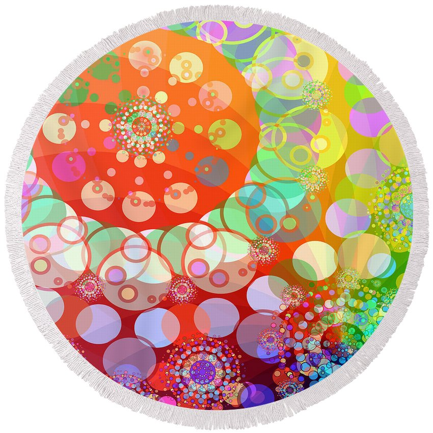 Merry Go Round Round Beach Towel featuring the digital art Merry Go Round Spinning 1 by Angelina Vick