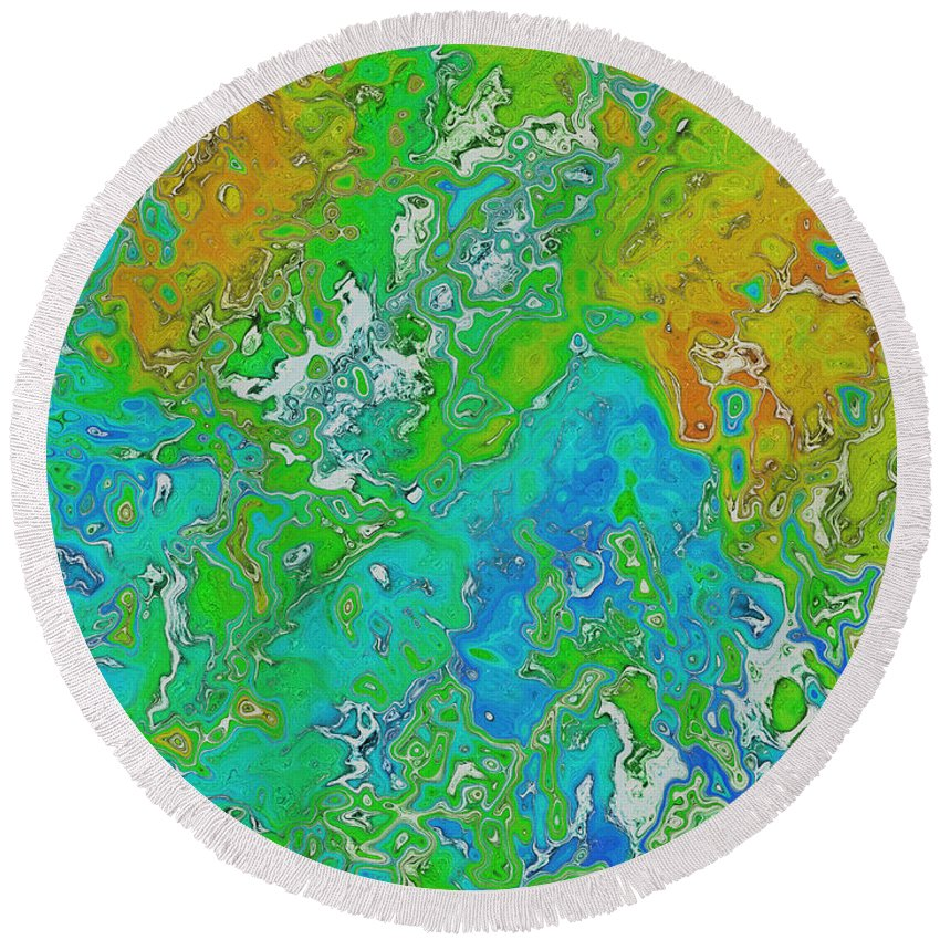 Digital Art Round Beach Towel featuring the digital art Messy Thick Paint by Debbie Portwood