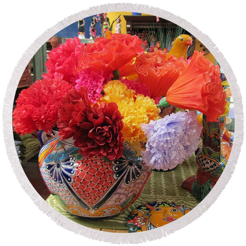 Mexican paper flowers and talavera pottery round beach towel for mexican round beach towel featuring the photograph mexican paper flowers and talavera pottery by elizabeth rose mightylinksfo