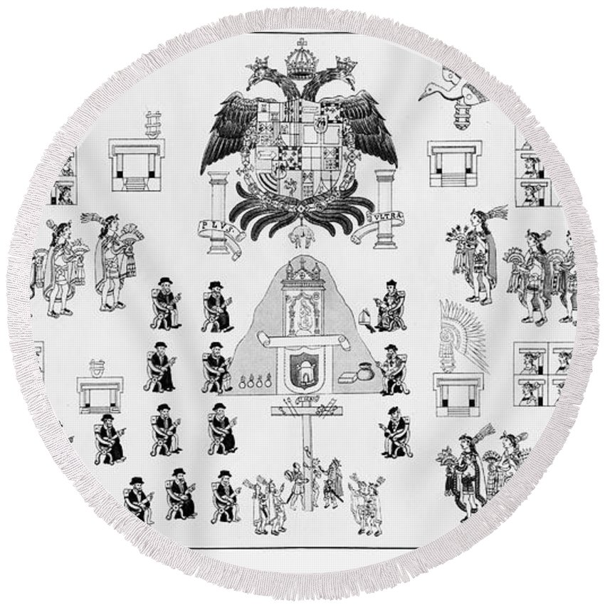 16th Century Round Beach Towel featuring the photograph Mexico: Mixtec Codex by Granger