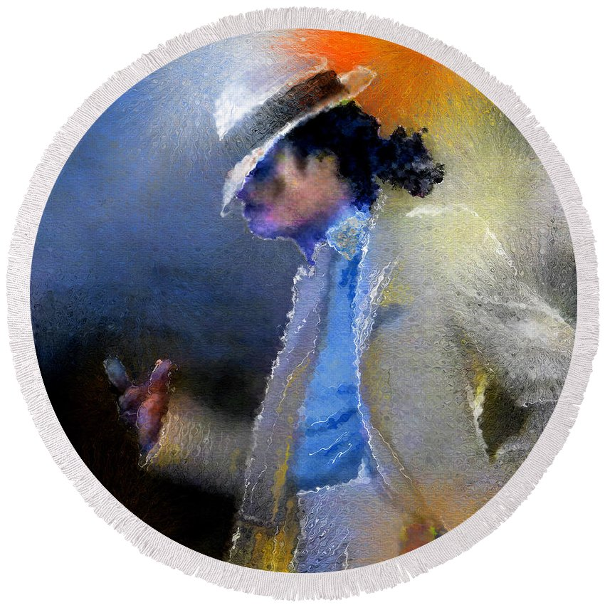 Music Round Beach Towel featuring the painting Michael Jackson 10 by Miki De Goodaboom