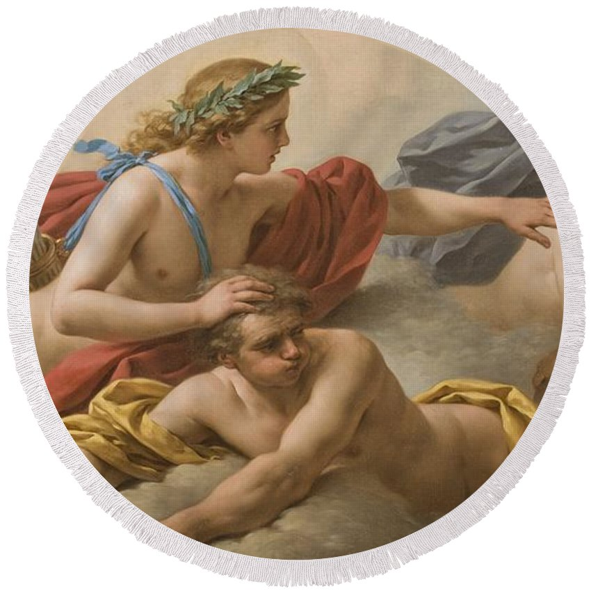 Allegory Round Beach Towel featuring the painting Midday by Louis Jean Francois I Lagrenee