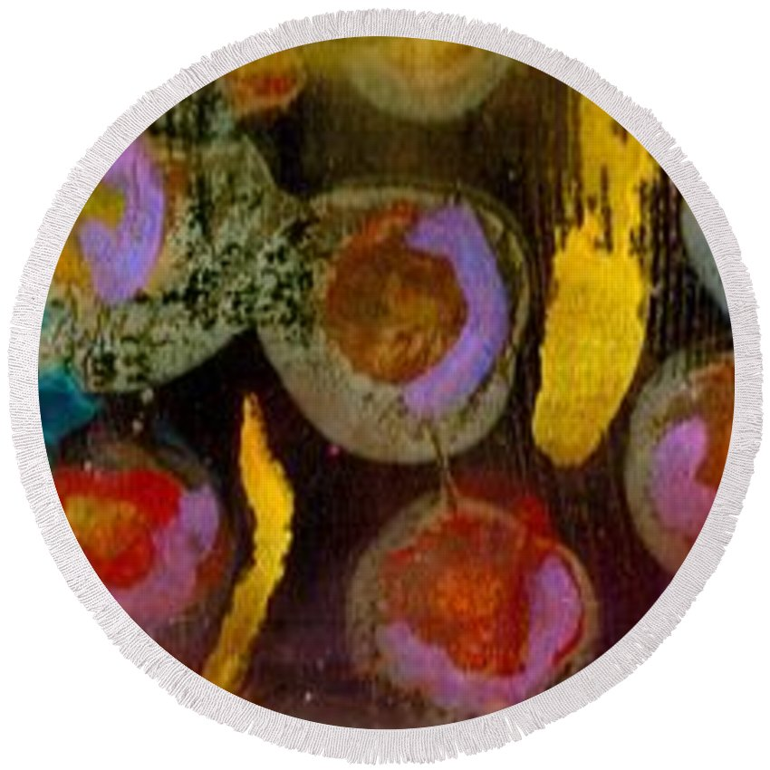 Bubbles Round Beach Towel featuring the mixed media Midnight Baubles by Angela L Walker