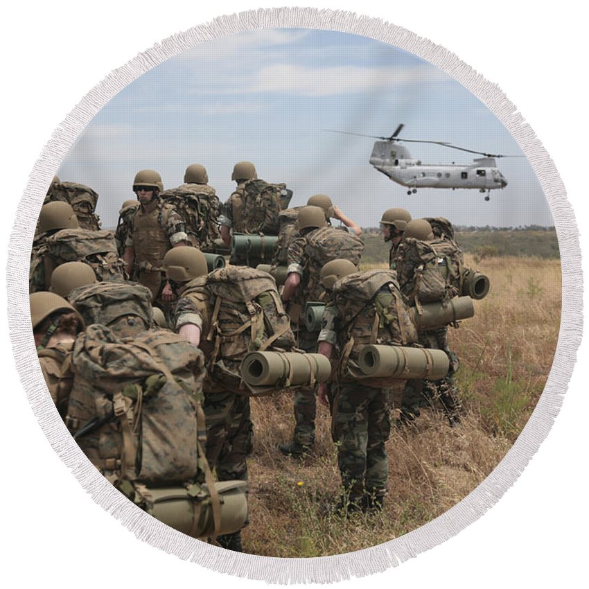 Ch-46 Sea Knight Round Beach Towel featuring the photograph Midshipmen Watch As A U.s. Marine Corps by Stocktrek Images