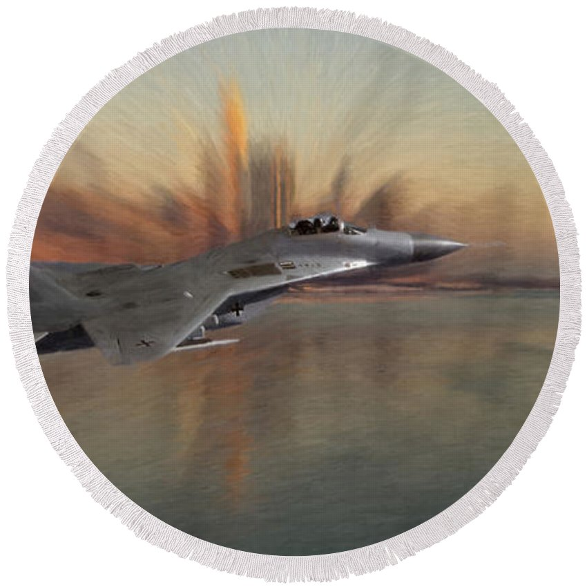 Mig 29 Approaching Fighter Plane Combat City Cityscape Fly Flying Sky Water Ocean Round Beach Towel featuring the pastel Mig 29 Approaching by Steve K