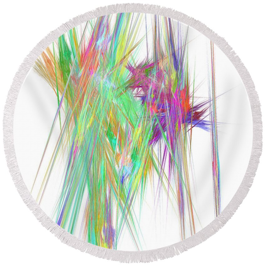 Abstract Round Beach Towel featuring the digital art Mikado-v by RochVanh