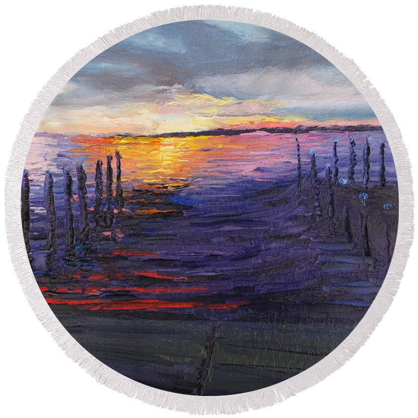 Sunset Round Beach Towel featuring the painting Mikey's Sunset by Lea Novak