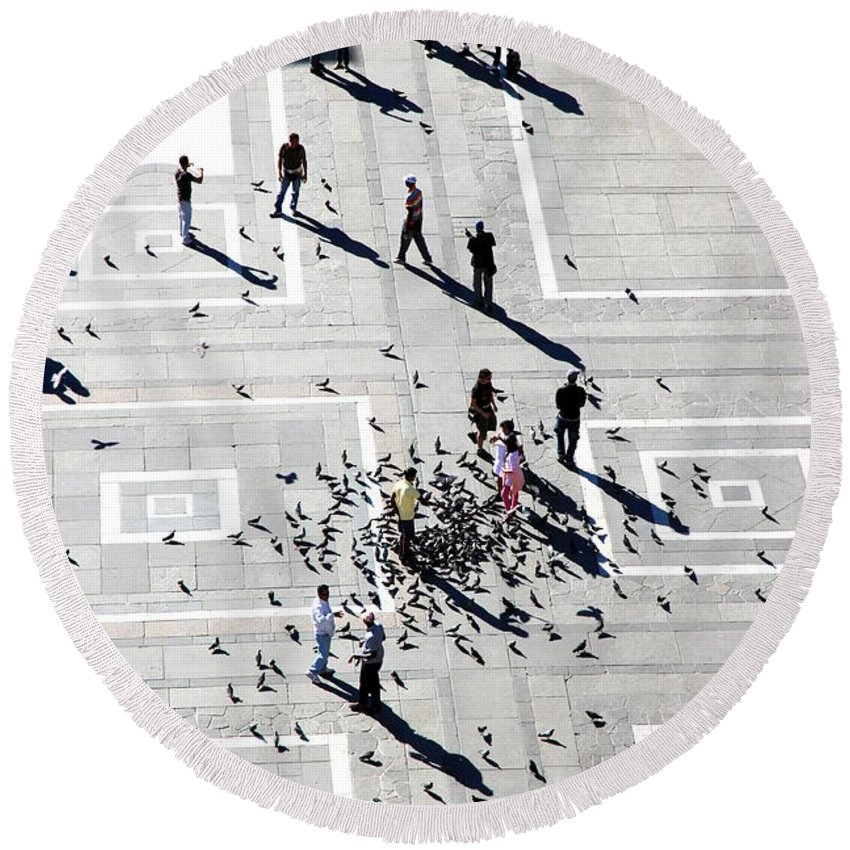 Milan Round Beach Towel featuring the photograph Milan Duomo Square by Valentino Visentini