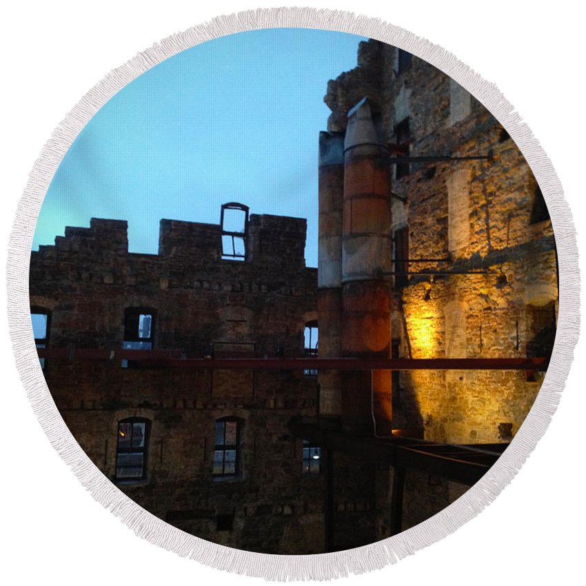 Mill Round Beach Towel featuring the photograph Mill Ruins by Tim Nyberg