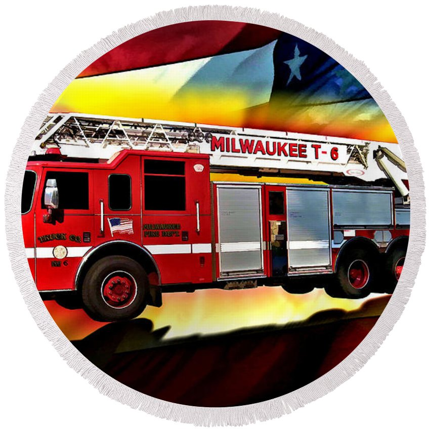Fire Truck Round Beach Towel featuring the digital art Milwaukee Truck 6 by Tommy Anderson
