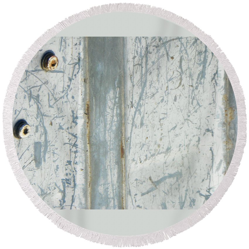 Abstract Round Beach Towel featuring the photograph Minimalism With Two Bolts by Lenore Senior