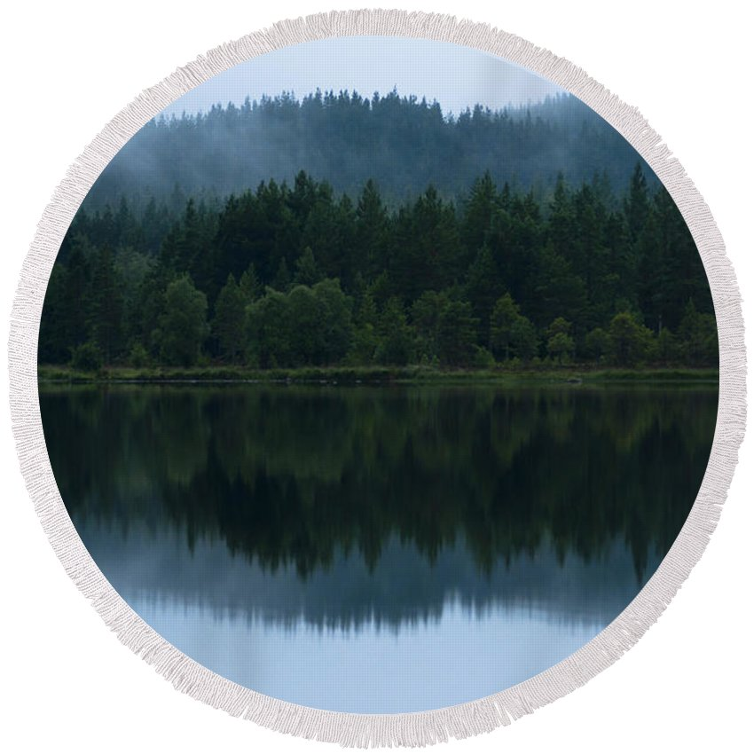 2011 Round Beach Towel featuring the photograph Mirror Reflections by Andrew Michael