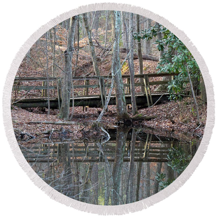 Water Round Beach Towel featuring the photograph Mirrored Bridge by David Campbell