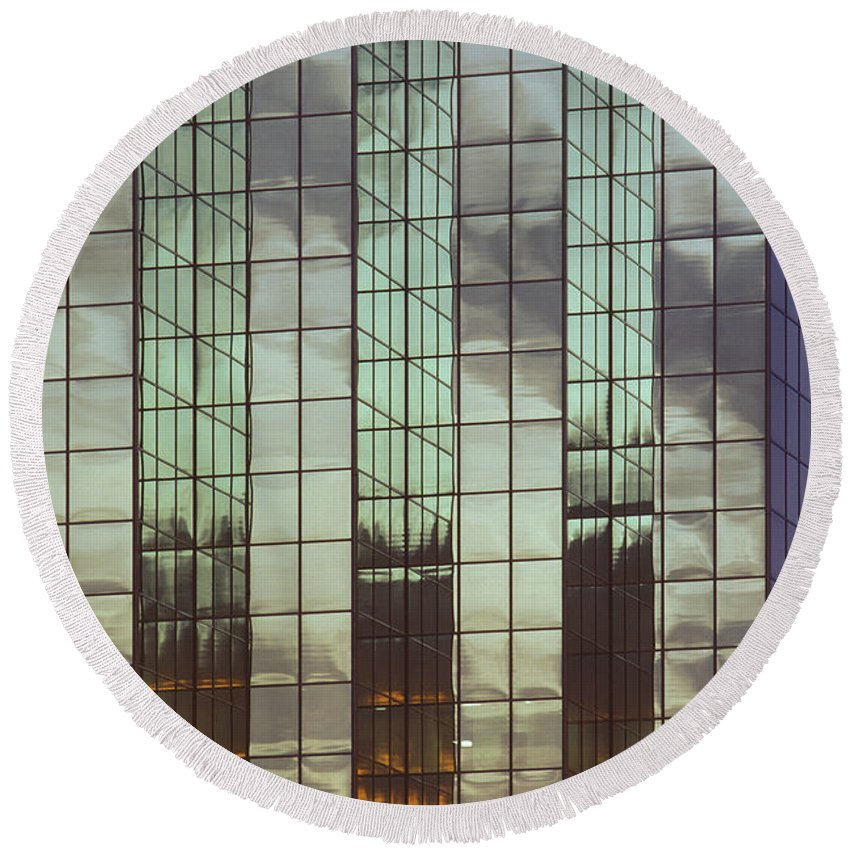Architecture Round Beach Towel featuring the photograph Mirrored Building by Mark Greenberg