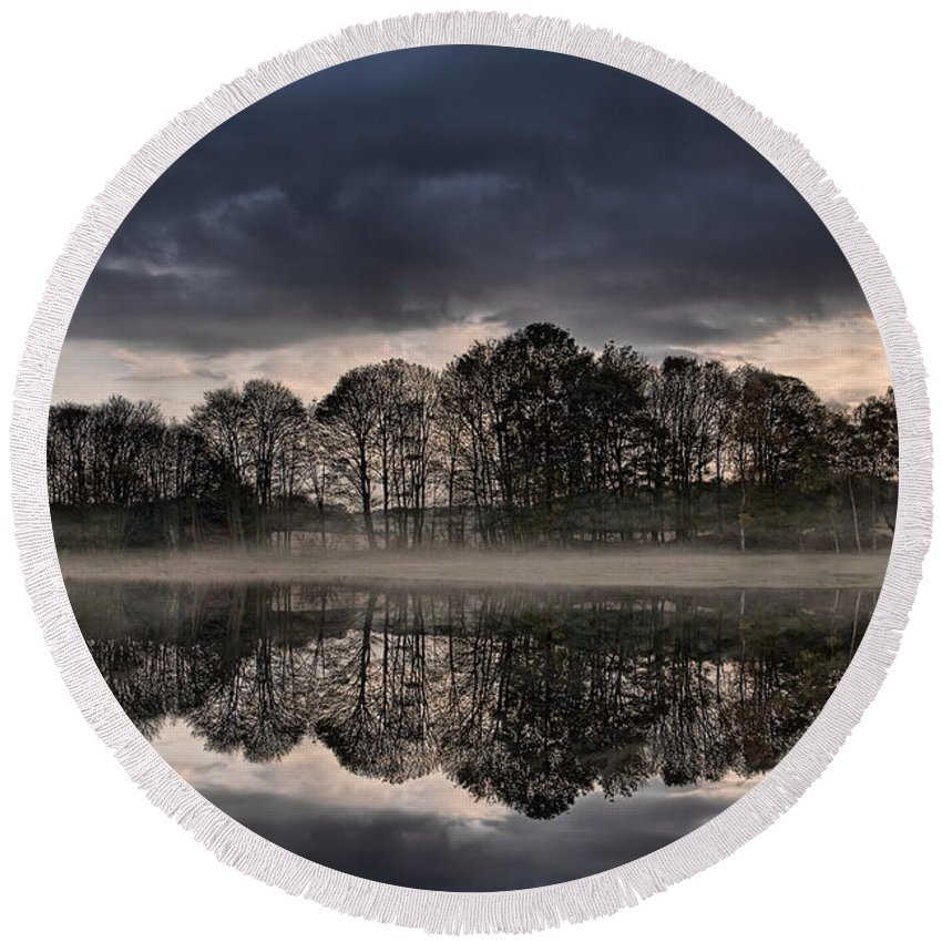 Tree Reflections Round Beach Towel featuring the photograph Mirrored Trees by Ann Garrett